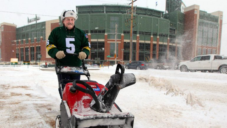 The weather at Titans-Packers Sunday night could get crazy because it's already snowing at Lambeau Field