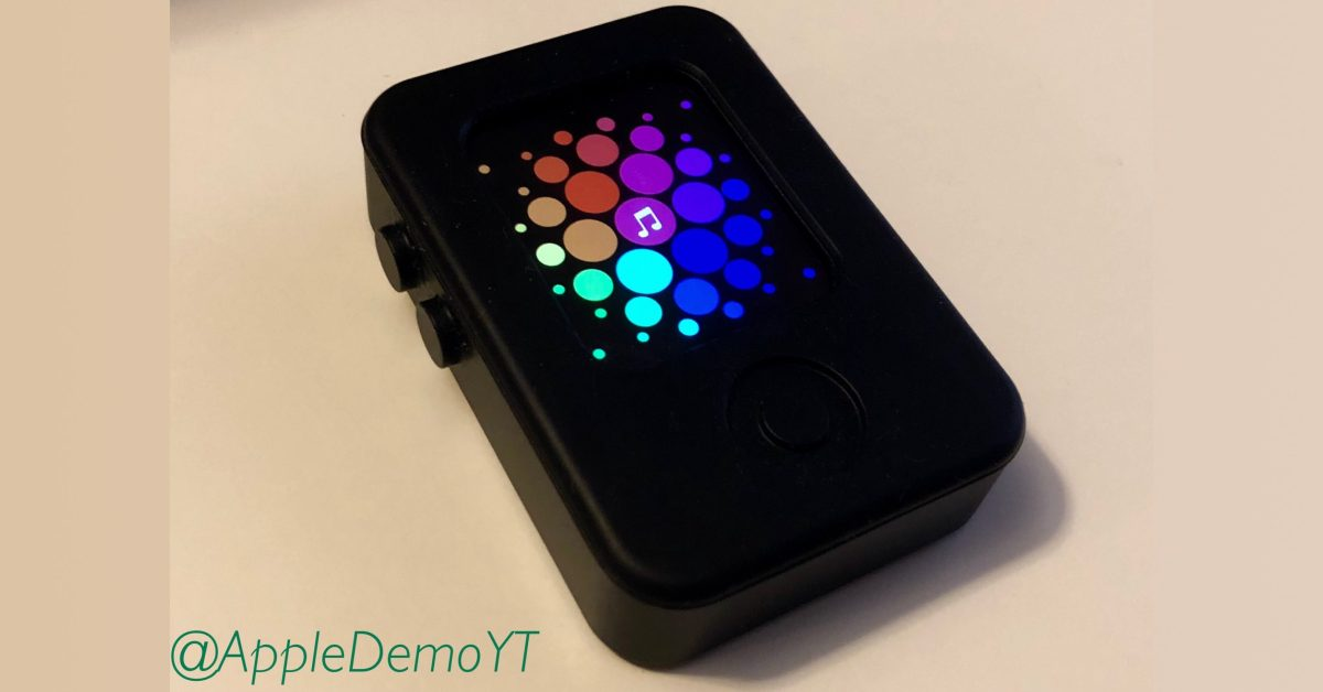 The images show an incognito prototype of an Apple Watch running with pre-installed watchOS software