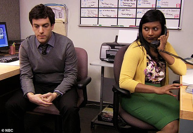 Costars: The Temp, Ryan Howard, was played by Mindy's ex-boyfriend PJ Novak, who also worked as a writer and producer in The Office with her;  Still from the office