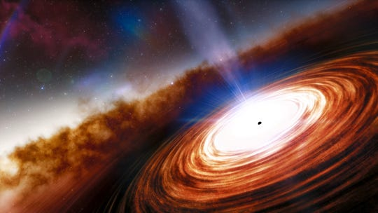 The artist envisioned quasar, one of the most powerful and energetic objects in the universe.  It is powered by a supermassive black hole weighing more than 1.6 billion times the mass of our sun.